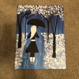 Girl in the rain Canvas Painting